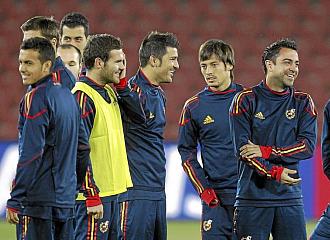 Los jugadores de Espa�a antes del entrenamiento.
