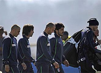 Los jugadores italianos, en un entrenamiento.