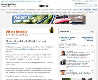 Informaci�n del New York Times sobre Rudy y los Knicks