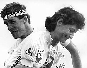 Longo y Pedro Delgado, los ganadores del Tour de Francia de 1988.