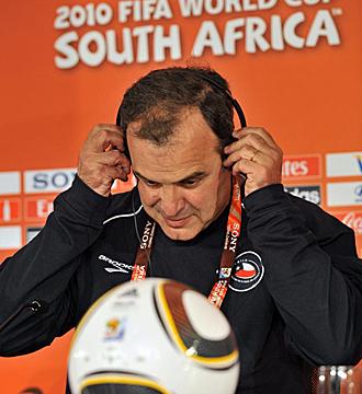 Marcelo Bielsa, durante la rueda de prensa de este jueves.