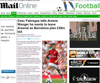 Informaci�n del 'Daily Mail' sobre Cesc y el Barcelona