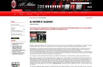 Comunicado oficial del Milan anunciando la contrataci�n de Allegri