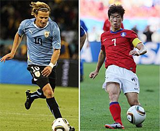 Forl�n y Park Ji-Sung, las estrellas de ambos equipos.