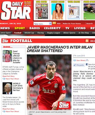 Informaci�n sobre Mascherano y el Inter en el 'Daily Star'