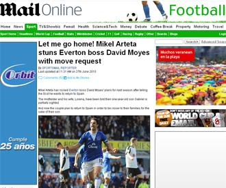Informaci�n sobre Arteta en el Daily Mail