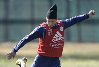 Santa Cruz en un entrenamiento de Paraguay