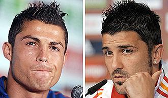 Cristiano Ronaldo y David Villa.