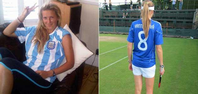 Azarenka (izquierda) apoya a Argentina y Hantuchova hace lo mismo con 'su' Eslovaquia