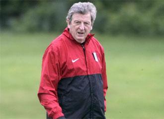 Roy Hodgson, durante un entrenamiento con el Fulham.