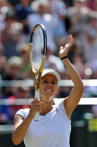 Tsvetana Pironkova celebra su victoria con el p�blico ingl�s.