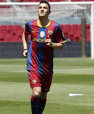 David Villa, durante su presentaci�n con el Barcelona