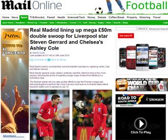 Informaci�n del 'Daily Mail' sobre Gerrard y Cole