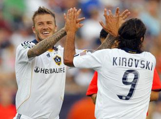 David Beckham celebrando un gol con los Galaxy