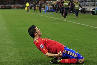 David Villa, celebrando el gol frente a Portugal