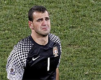 Eduardo, con l�grimas en los ojos al final del partido contra Espa�a