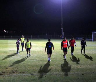 Los jugadores espa�oles, al terminar el entrenamiento.