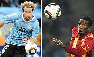 Forl�n y Gyan son los hombres gol de Uruguay y Ghana.