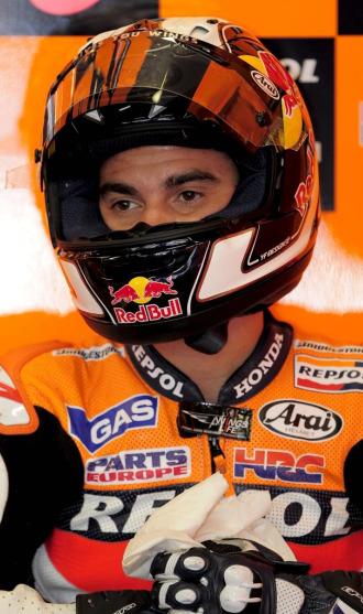 Dani Pedrosa, en box del equipo Honda en Montmel�