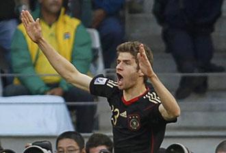 M�ller celebrando su gol contra Argentina