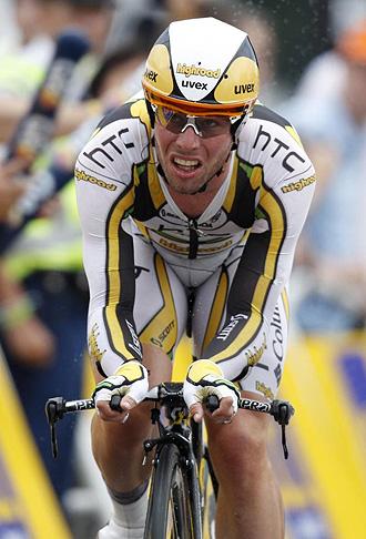 Mark Cavendish, durante la etapa pr�logo en Rotterdam.
