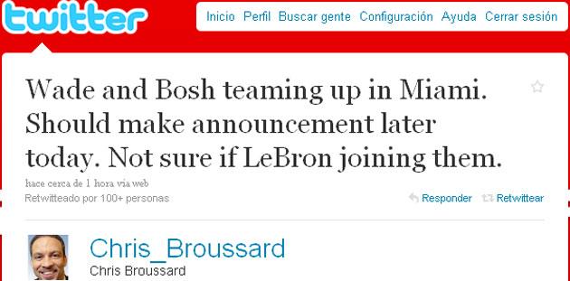 Mensaje de Chris Broussard (ESPN) anunciando en su cuenta de Twitter que Bosh y Wade jugar�n en Miami