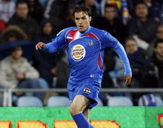 Pedro Le�n en el trascurso de un partido la pasada temporada con el Getafe
