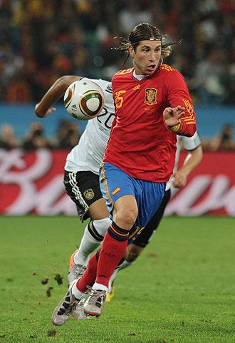 Sergio Ramos, en un lance del Alemania-Espa�a.