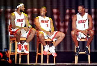 LeBron James el d�a de su presentaci�n oficial con los Heat