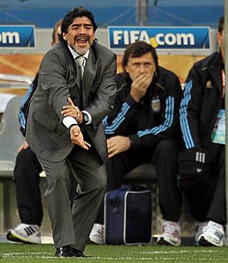 Diego Armando Maradona, durante un partido de Argentina en el Mundial de Sud�frica.