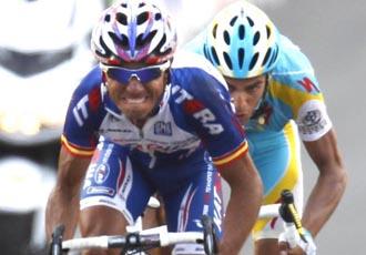 Contador no pudo con la velocidad punta de 'Purito' en la línea de meta