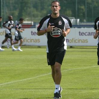 Lopo, trabajando en el primer entrenamiento del verano para el Deportivo.