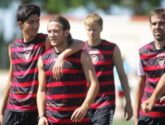 Los jugadores del Sevilla durante una sesi�n de entrenamiento en la pretemporada del Sevilla en Costa Ballena