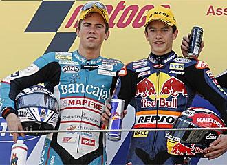 Terol y M�rquez, en el podio de Assen.