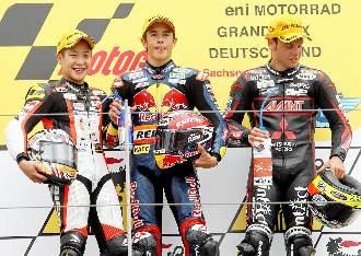 El podio de 125cc en Sachsenring