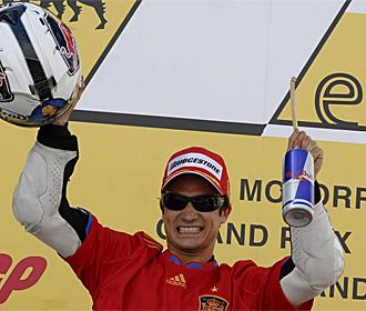 Dani Pedrosa, muy feliz tras su victoria en Sachsenring.