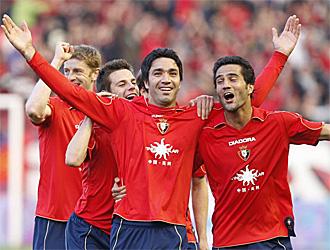 Nekounam y Masoud celebran un gol de Osasuna