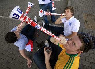 Varios seguidores ingleses, en el pasado Mundial de Sud�frica.