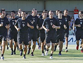 La plantilla de Osasuna, en un entrenamiento