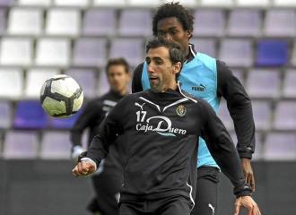 Luis Prieto, en un entrenamiento con el Valladolid