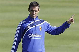 Pablo Amo, durante un entrenamiento del Zaragoza, en una imagen de archivo