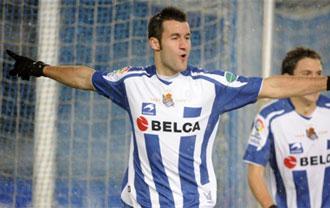 Agirretxe celebra un gol en Anoeta en la pasada campa�a