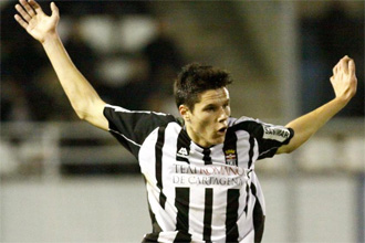 Héctor Yuste, durante un partido con el Cartagena