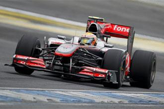 Lewis Hamilton, durante los entrenamientos en Hockenheim.