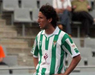 Gaspar G�lvez en un momento de un partido con el C�rdoba la temporada pasada