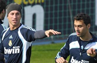 Sergio Ramos junto a �lvaro Arbeloa en un entrenamiento del Madrid