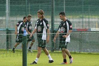 Filipe junto a Ruben Castro en uno de sus últimos entrenamientos como jugador del Deportivo