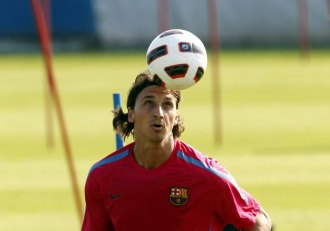 Ibrahimovic en un entrenamiento del Bar�a