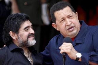 Maradona regres� este s�bado de Caracas, donde estuvo reunido con el presidente venezolano, Hugo Ch�vez,
