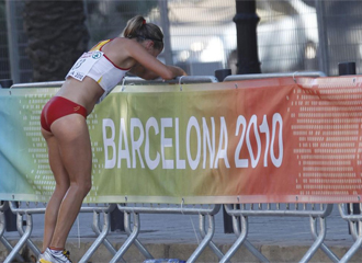 María Vasco llora tras su lesión.